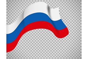 Russian flag on transparent background