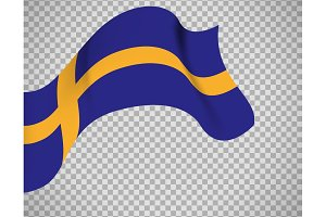 Sweden flag on transparent background