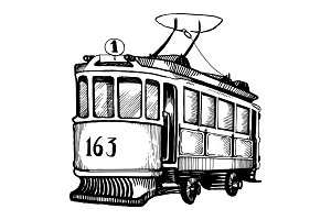 Vintage tram engraving vector illustration
