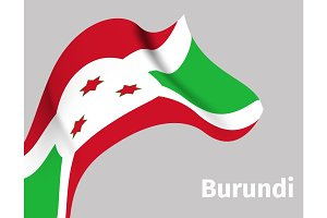 Background with Burundi wavy flag