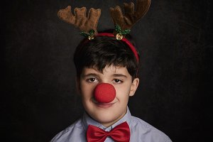 funny child at christmas