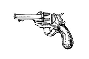 Vintage revolver pop art vector illustration