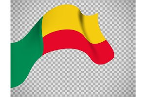 Benin flag on transparent background