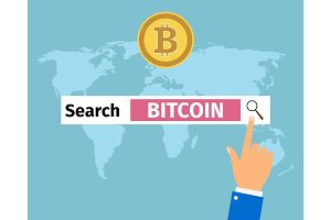 Businessman hand search bitcoin in internet