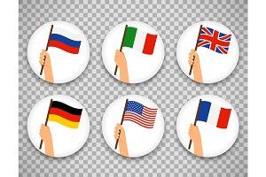 Flag in hand circle icons set