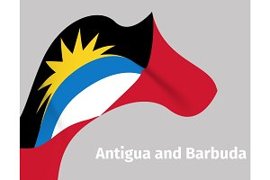 Antigua and Barbuda wavy flag background
