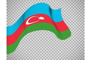 Azerbaijan flag on transparent background