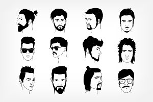 Set of men's hairstyle