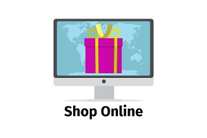 Shop online concept with pink present