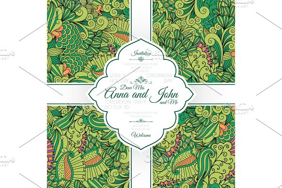 Green Leaves And Swirls Pattern Card