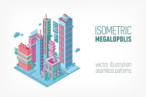 Isometric building. Megalopolis.