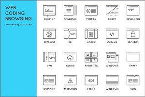 Awesome Web Coding Browsing Icons