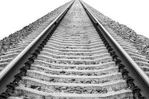 Railroad track isolatated on white