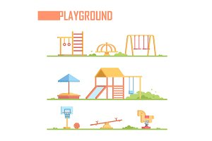 Set of playground elements - modern vector cartoon isolated illustration