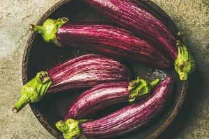 Raw Fall harvest purple eggplants