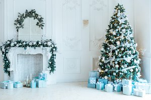 Christmas tree, fireplace, gifts