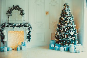 Christmas living room with a tree