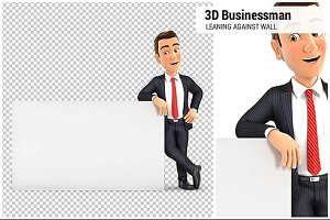 3D Businessman Leaning Against White