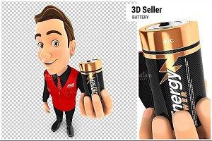3D Seller Holding Battery