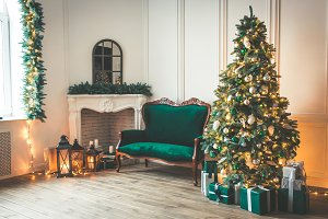 Christmas living room with a firepla