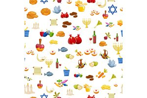 Jewish Holiday Hanukkah seamless background.Cartoon style vector illustration