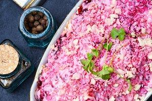 Salad with herring