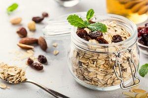 Oat flakes in glass jar
