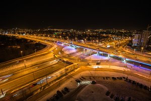 Transport bridges Minsk at night