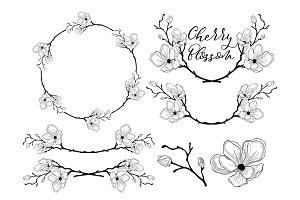 Vector Cherry Blossom Design. Dividers, Frames and Wreaths