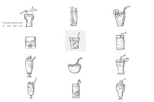 Cocktails sketch vector icons
