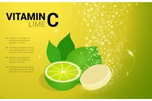 Vitamin C Lime soluble pills with lime flavour in water with sparkling fizzy bubbles trail. Ascorbic acid. Vitamineral complex package design with citrus yellow background.