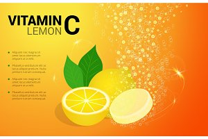 Vitamin C Lemon soluble pills with Lemon flavour in water with sparkling fizzy bubbles trail. Ascorbic acid. Vitamineral complex package design with citrus yellow background. Treatment cold flu.