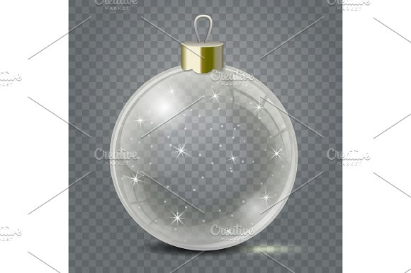 glass christmas toy on a transparent background stocking christmas decorations or new years transparent