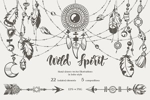 Graphic vector boho illustration set