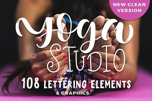 Yoga studio lettering & graphic set
