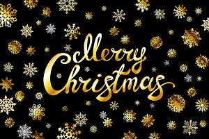 Merry Christmas gold glittering
