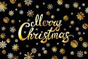 Merry Christmas gold glittering