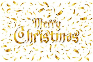 Merry Christmas - gold glittering