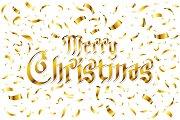 Merry Christmas - gold glittering