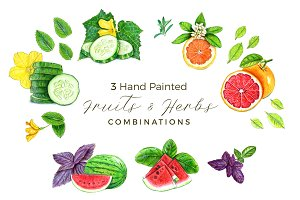 Hand Painted Fruits and Herbs