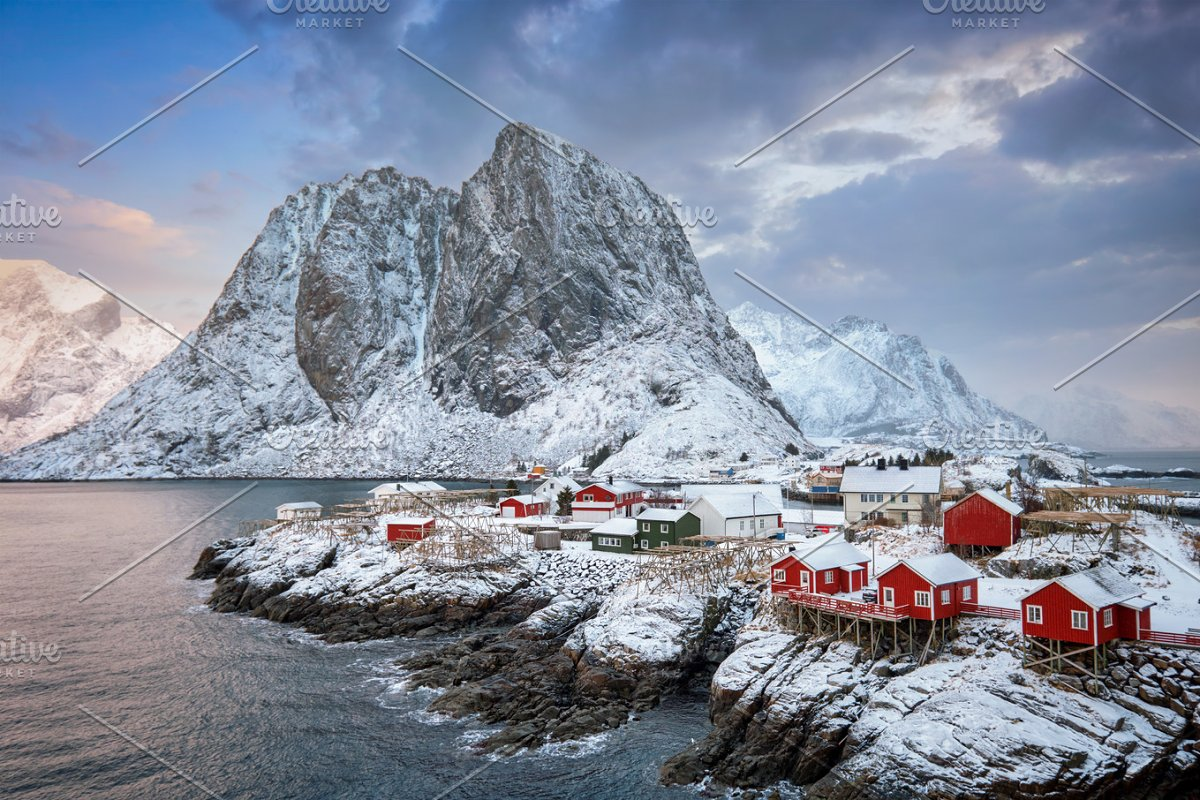 Hamnoy fishing village on Lofoten Islands, Norway in Graphics - product preview 8