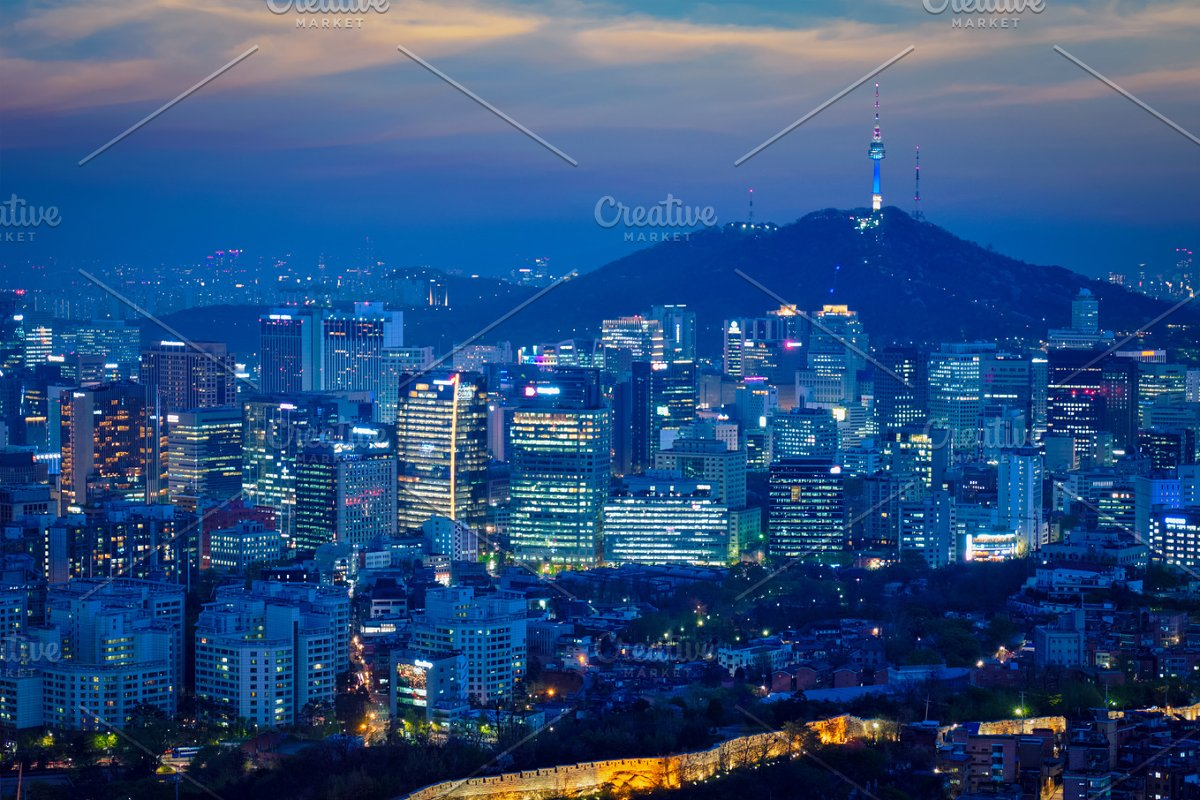 Seoul skyline in the night, South Korea.