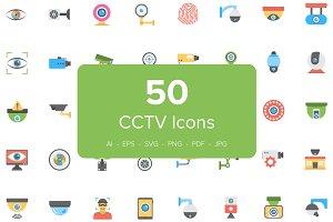 50 Flat CCTV Icons