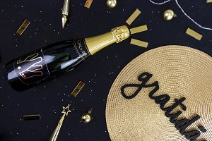 Golden and Black New Year Flat Lay