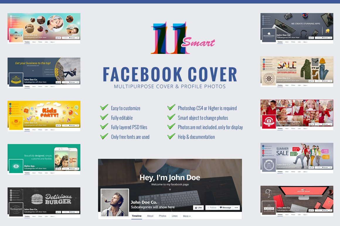 11 smart facebook cover photo web elements creative market