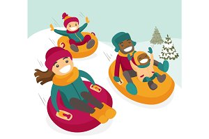 Multiethnic family sliding down the hill on tubes.