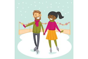 Multiracial couple skating on ice rink outdoors.