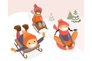 Group of multicultural kids enjoying a sleigh ride