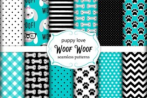 Cute set of seamless patterns with hand drawn cartoon characters of dog, footprints and bones