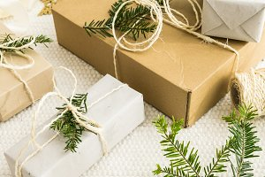Christmas gifts with fir twigs I